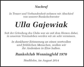Zur Gedenkseite von Ulla