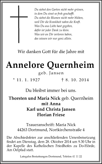 Zur Gedenkseite von Annelore