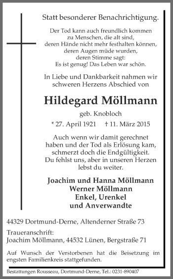 Zur Gedenkseite von Hildegard