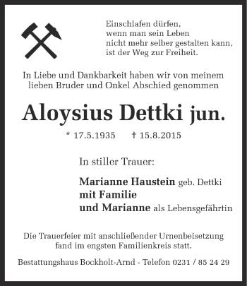 Zur Gedenkseite von Aloysius