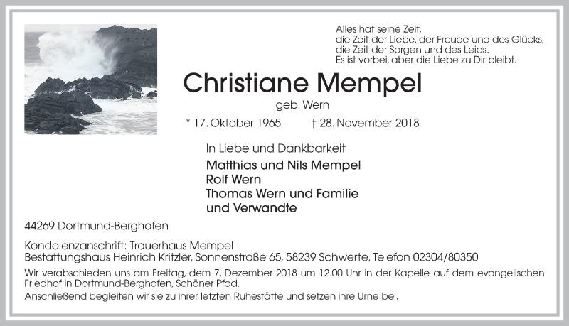 Anzeige von  Christiane Mempel